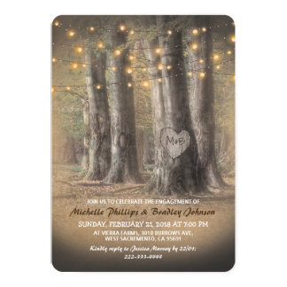 Rustic Tree & String Lights Engagement Party Card