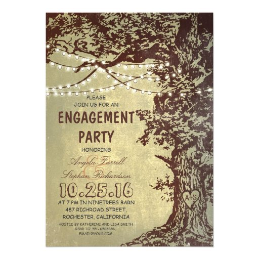 Rustic tree & string lights engagement party custom invite