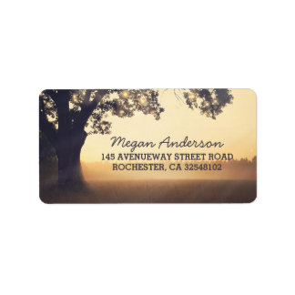 Rustic Tree String Lights Wedding Address Label