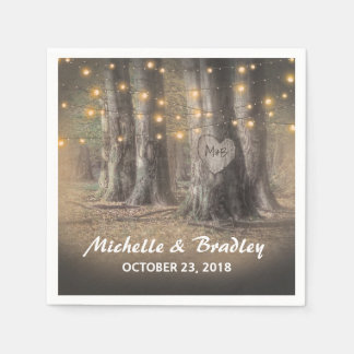 Rustic Tree & String Lights Wedding Disposable Napkin
