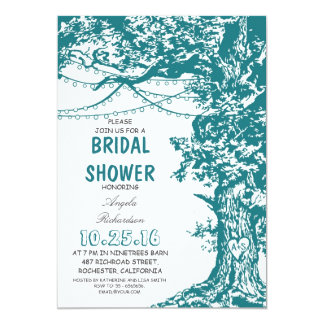 Rustic tree teal blue string lights bridal shower 5x7 paper invitation card