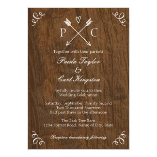 "Rustic Tree Wedding Invitation 5"" X 7"" Invitation Card"