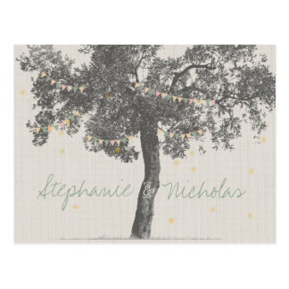 Rustic Tree Wedding Save the Date Cards Postcard
