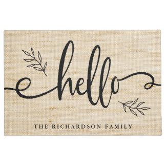 Rustic Trendy Leaves and Typography | Hello Doormat