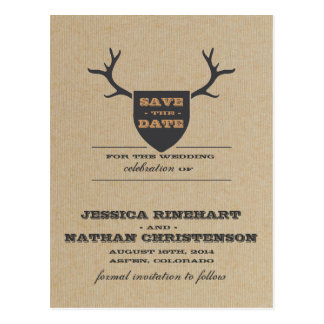 Rustic Trophy Gray Save the Date Postcards