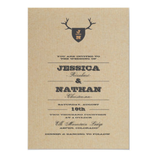 "Rustic Trophy Gray Wedding Invitation 5"" X 7"" Invitation Card"