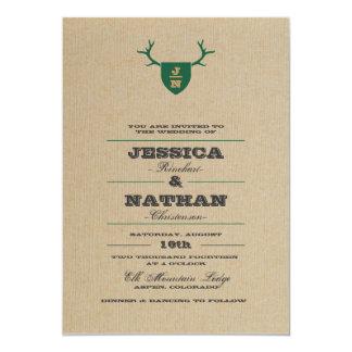 Rustic Trophy Green Wedding Invitation