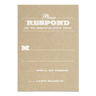"""Rustic Trophy White Response 3.5"""" X 5"""" Invitation Card"""