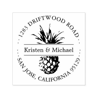 Rustic Tropical Pineapple Round Return Address Self-inking Stamp