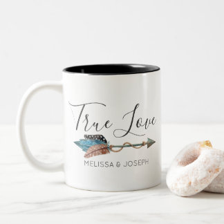 Rustic Turquoise Feather Arrow Boho Chic True Love Two-Tone Coffee Mug