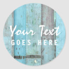Rustic Turquoise Wood Vintage & Boho Chic Boutique Classic Round Sticker