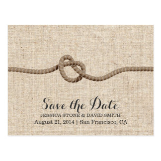 Rustic Twine Knot Burlap Save the Date Postcard