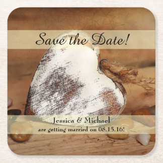 Rustic Twine Wood Heart Save the Date Square Paper Coaster