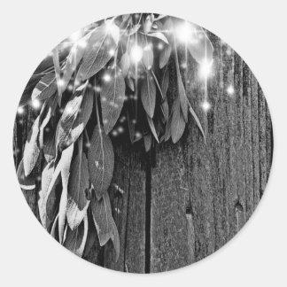 Rustic twinkle light Sage Classic Round Sticker