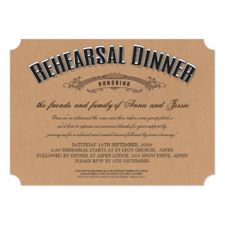 Rustic Typography Wedding Rehearsal Dinner Invite