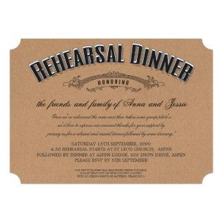 Rustic Typography Wedding Rehearsal Dinner Invite