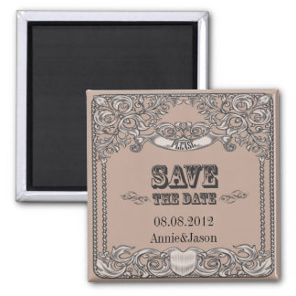 rustic typography western country wedding square magnet