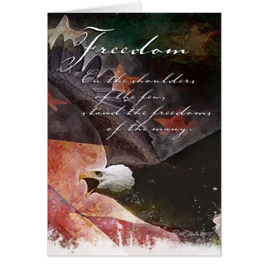 Rustic U.S. Flag and Bald Eagle Patriotic Card