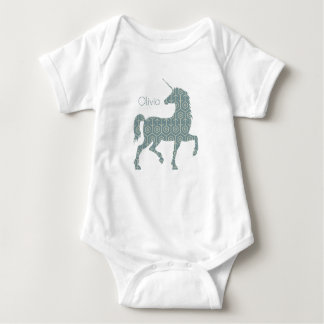 Rustic Unicorn Olivia Mystical Horse Add Your Name Baby Bodysuit