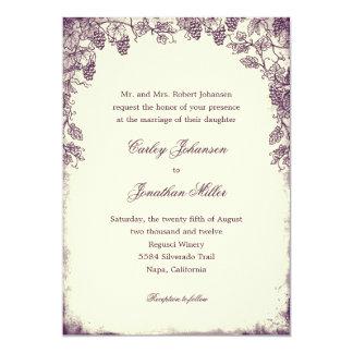 Rustic Vineyard Wedding Invitation - Purple Personalized Invite