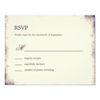 Rustic Vineyard Wedding RSVP Card - Purple