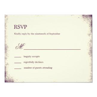 Rustic Vineyard Wedding RSVP Card - Purple 11 Cm X 14 Cm Invitation Card