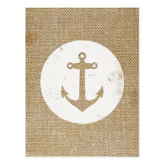 Rustic vintage anchor postcard