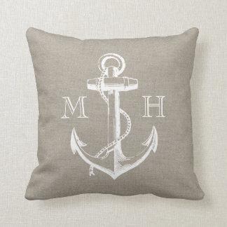 Rustic Vintage Anchor Wedding Monogram Throw Cushions