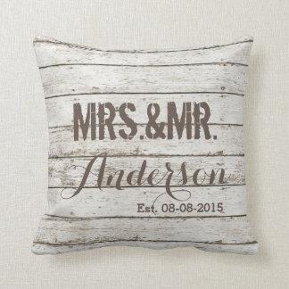 rustic vintage barn wood barn wedding mr and mrs cushion