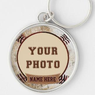 Rustic Vintage Baseball Themed PHOTO Keychains