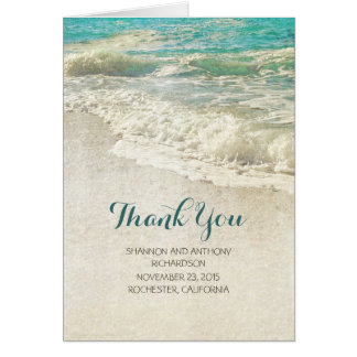 rustic vintage beach wedding thank you cards