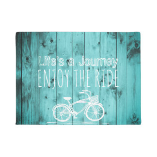 Rustic Vintage Bicycle Teal Boho Life's a Journey Doormat