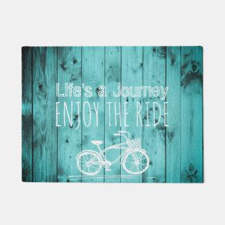 Rustic Vintage Bicycle Teal Boho Life's a Journey Doormat
