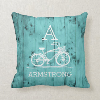 Rustic Vintage Bicycle Wedding Monogram Teal Wood Cushion