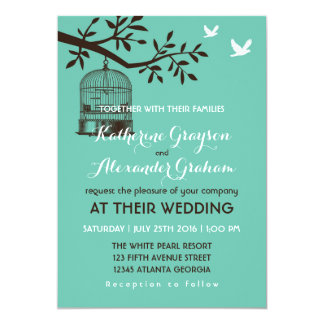 Rustic Vintage Bird Cage Blue Wedding Invitation
