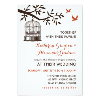 Rustic Vintage Bird Cage White Wedding Invitation