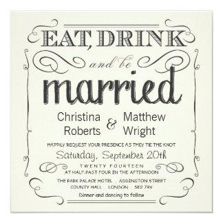Rustic Vintage Black & Cream Wedding Invitations