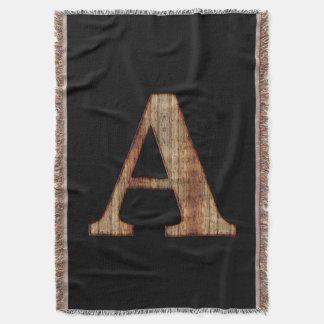 Rustic Vintage Black Wood Monogram Throw Blanket