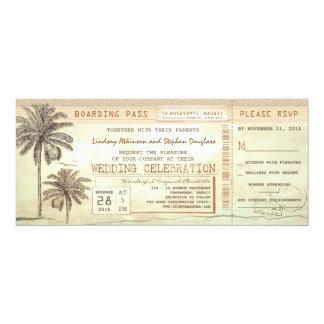rustic vintage boarding pass ticket wedding invite