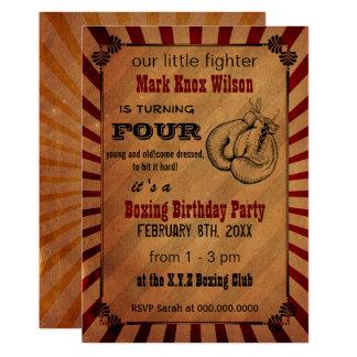 Rustic Vintage Boxing Birthday Invitations