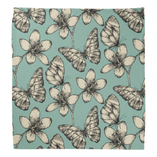 Rustic vintage butterfly and flowers on turquoise bandana