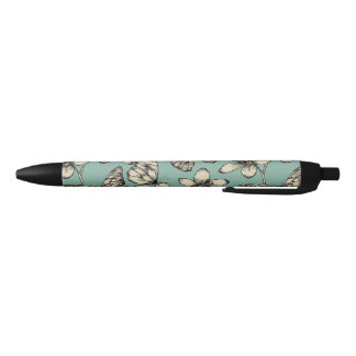 Rustic vintage butterfly and flowers on turquoise black ink pen