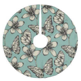 Rustic vintage butterfly and flowers on turquoise brushed polyester tree skirt