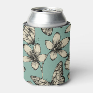 Rustic vintage butterfly and flowers on turquoise can cooler