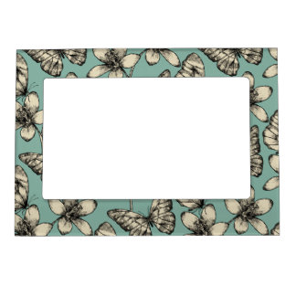 Rustic vintage butterfly and flowers on turquoise magnetic picture frame