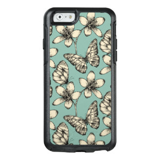 Rustic vintage butterfly and flowers on turquoise OtterBox iPhone 6/6s case