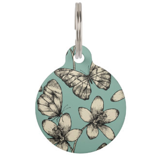 Rustic vintage butterfly and flowers on turquoise pet name tag