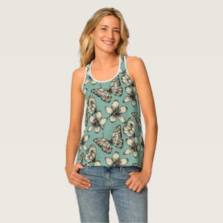 Rustic vintage butterfly and flowers on turquoise singlet