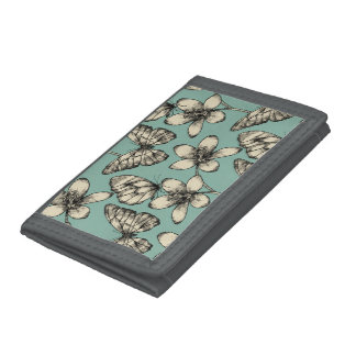 Rustic vintage butterfly and flowers on turquoise trifold wallet