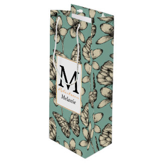Rustic vintage butterfly and flowers on turquoise wine gift bag